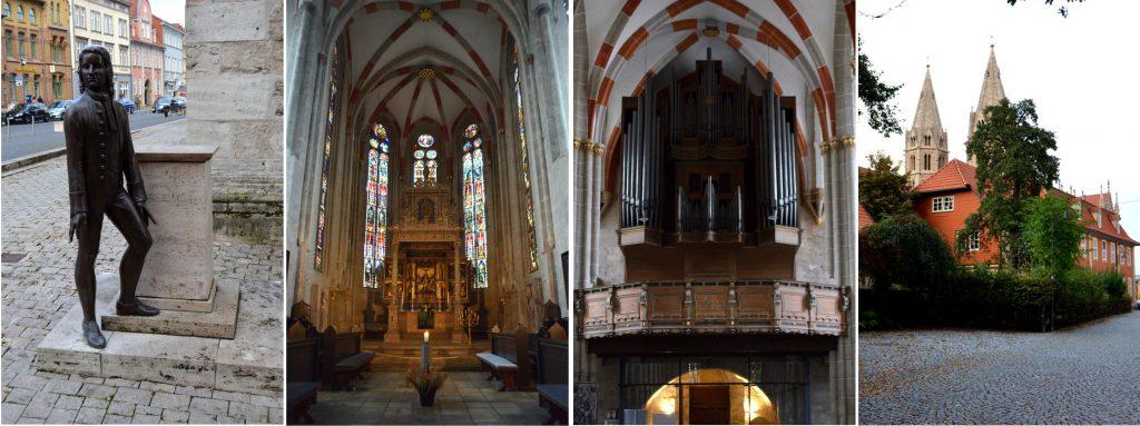 Die Kirche Divi Blasii am Untermakrt. Eine Bachskluptur weist auf sein Wirken hin.