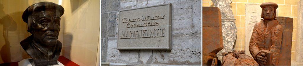 Eine Büste und eine Skulptir von Thomas Müntzer. Am Turmeingang weist eine Tafel auf die Gedenkstätte hin.